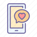 phone, love, valentine, message, chat