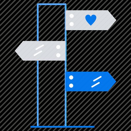 board, direction, love icon