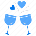 cheers, drinks, glass, heart icon