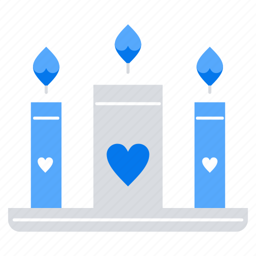 candle, candles, heart, love icon