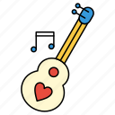 guitar, heart, instruments, music