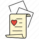 document, heart, letter, love icon