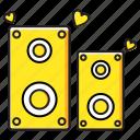 love, music, sound, speaker icon