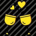cheers, drinks, glass, heart