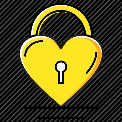 heart, lock, love icon