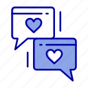 chat, heart, love, wedding icon