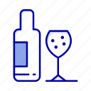 bottle, drink, glass, love icon