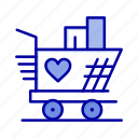 heart, love, trolly, weding icon