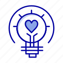 bulb, light, tips, valentine icon