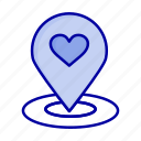 finder, heart, location, map, pin