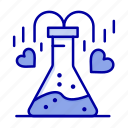 chemical, flask, heart, love