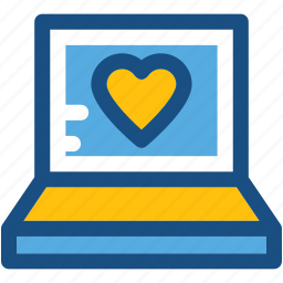 heart, laptop, love chatting, lover chatting, romantic chat icon
