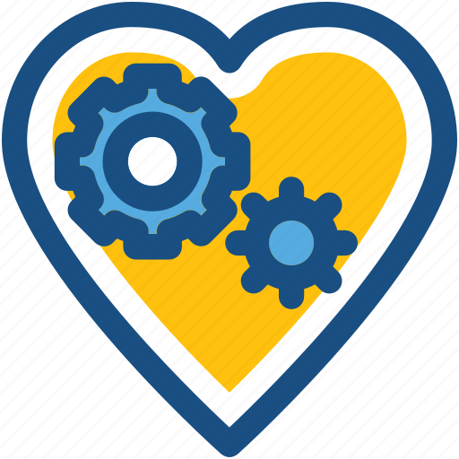 cog, cogwheel, heart, love, romance icon