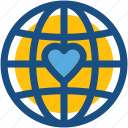 globe, heart, love travel, love world, peace icon
