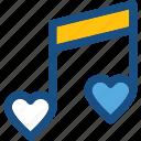 heart, music note, quaver, romantic music, romantic song icon