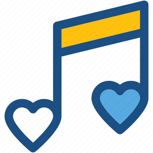 heart, music note, quaver, romantic music, romantic song icon