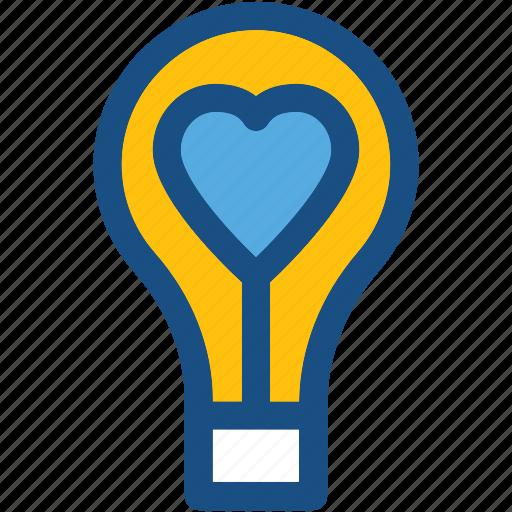 fall in love, heart, heart bulb, lightbulb, romantic lights icon