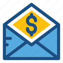 bill, dollar, envelope, letter, payment icon