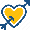 arrow, broken heart, heart, heart with cupid, heartbreak icon