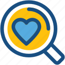 exploring love, find partner, heart, magnifier, searching love icon