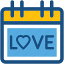love, love calendar, love day, valentine day, wall calendar icon