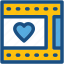 film strip, heart, movie strip, romantic movie, romantic video icon