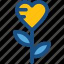 floral, heart flower, love, rose, valentine icon