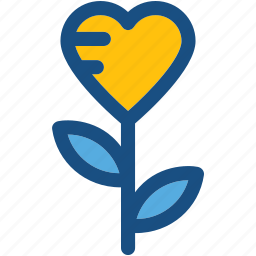 floral, heart flower, love, rose, valentine icon