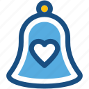 alert, bell, church bell, heart, ring icon