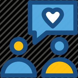 chat bubble, love chat, love message, romantic chat, romantic conversation icon
