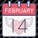 day, valentines, calendar, date icon