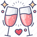 cheers, drink, love, wine icon