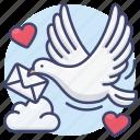 card, dove, letter, love icon