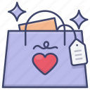bag, gift, shopping, valentines icon