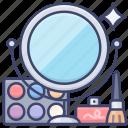 cosmetics, makeup, mirror, set icon