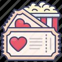 movie, popcorn, theater, ticket icon