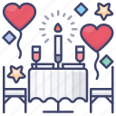 dating, date, dinner, valentines icon