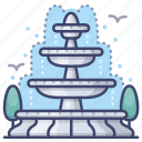 fountain, park, romantic, water icon