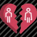 break, couple, divorce, heart, separate, up, valentine