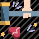 break, hammer, heart, heartbroken, wreck icon
