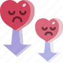down, heart, love, sad, valentine icon