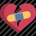 break, heart, heartbroken, injury, pain, up, valentine icon