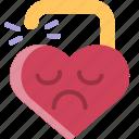 break, divorce, heart, sad, unlock, up, valentine icon