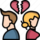 break, couple, divorce, fight, up, valentine, wreck icon