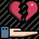 break, hand, heartbreak, heartbroken, up, valentine icon
