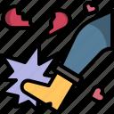 heart, kick, love, valentine, wreck icon