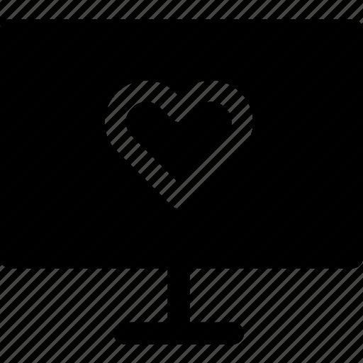 computer, device, love, passion, romance, screen, tv icon