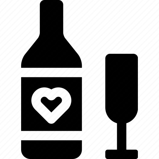beverage, bottle, drink, glass, heart, live, wine icon