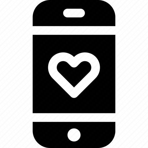 device, heart, love, message, phone, romance, screen icon