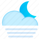 cloud, fog, moon, night, weather icon